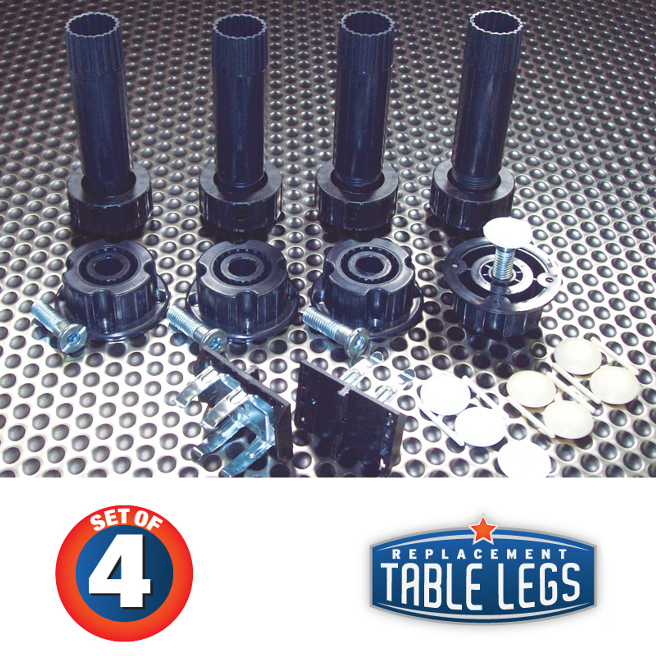 "4, 4""-6-1/2"" Plastic levelers w/ 2-1/2"" adjustable foot, 4 plastic sockets, 2 groove mount toe kick clips, 4 white cover caps, 4 almond cover caps"