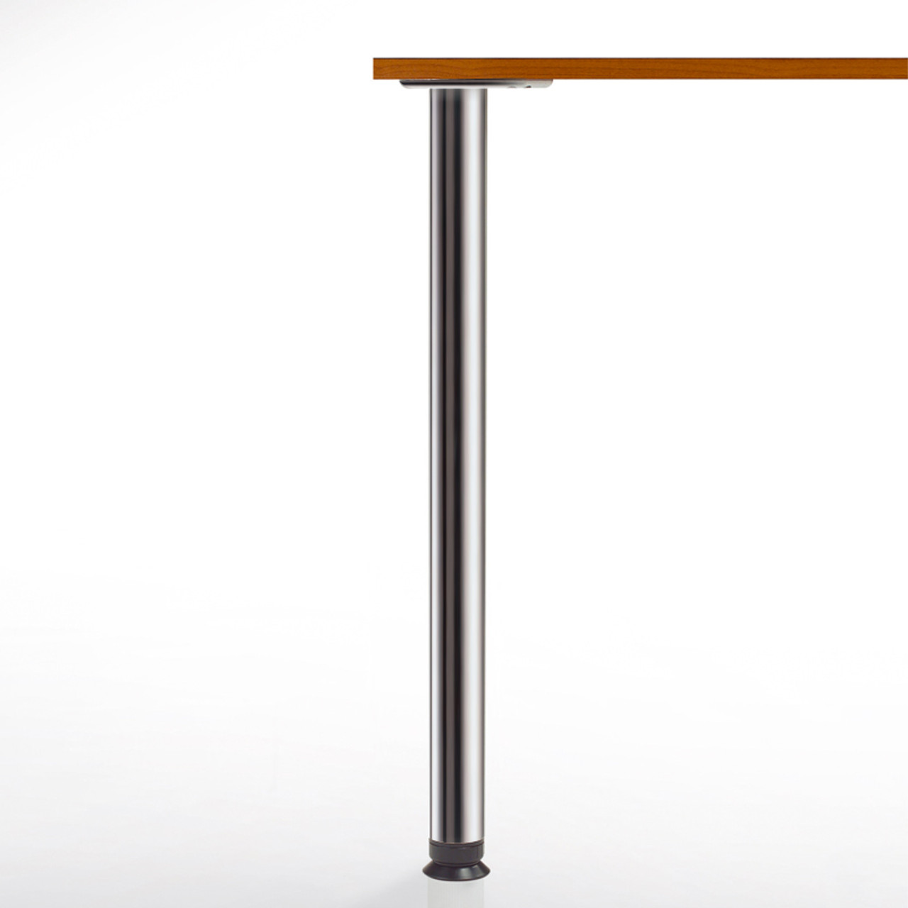 SET of 4, 34-1/4'' height, Zoom Table Legs,  2-3/8'' diameter leg 4'' adjustable foot Brushed steel