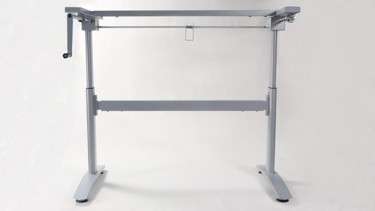 "Max height (39-3/4"") silver hand crank height adjustable desk frame. - replacementtablelegs.com"