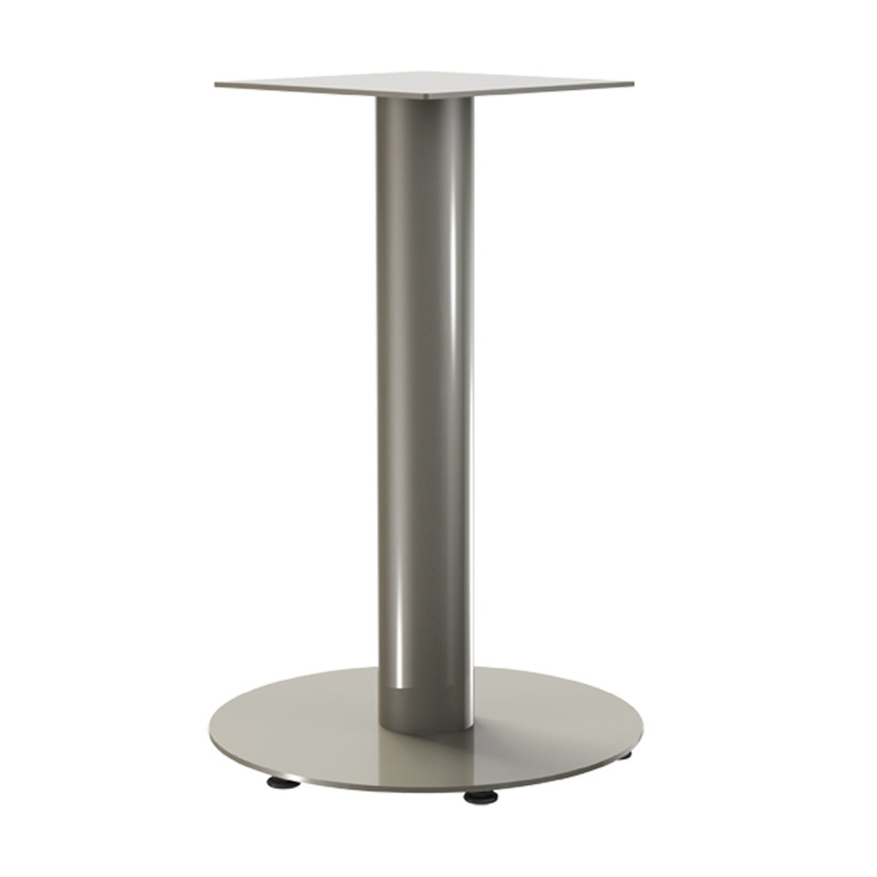 """Round Pedestal Base, 27-3/4"""" Height, 18"""" Base Diameter, 4"""" diameter Column, with welded mounting plate and levelers - Replacementtablelegs.com"""