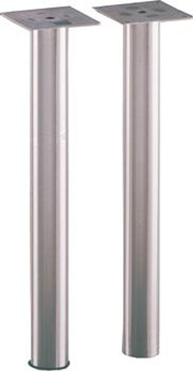 Dining Height Stainless Steel Straight Table Leg shown with and without black ring detail.