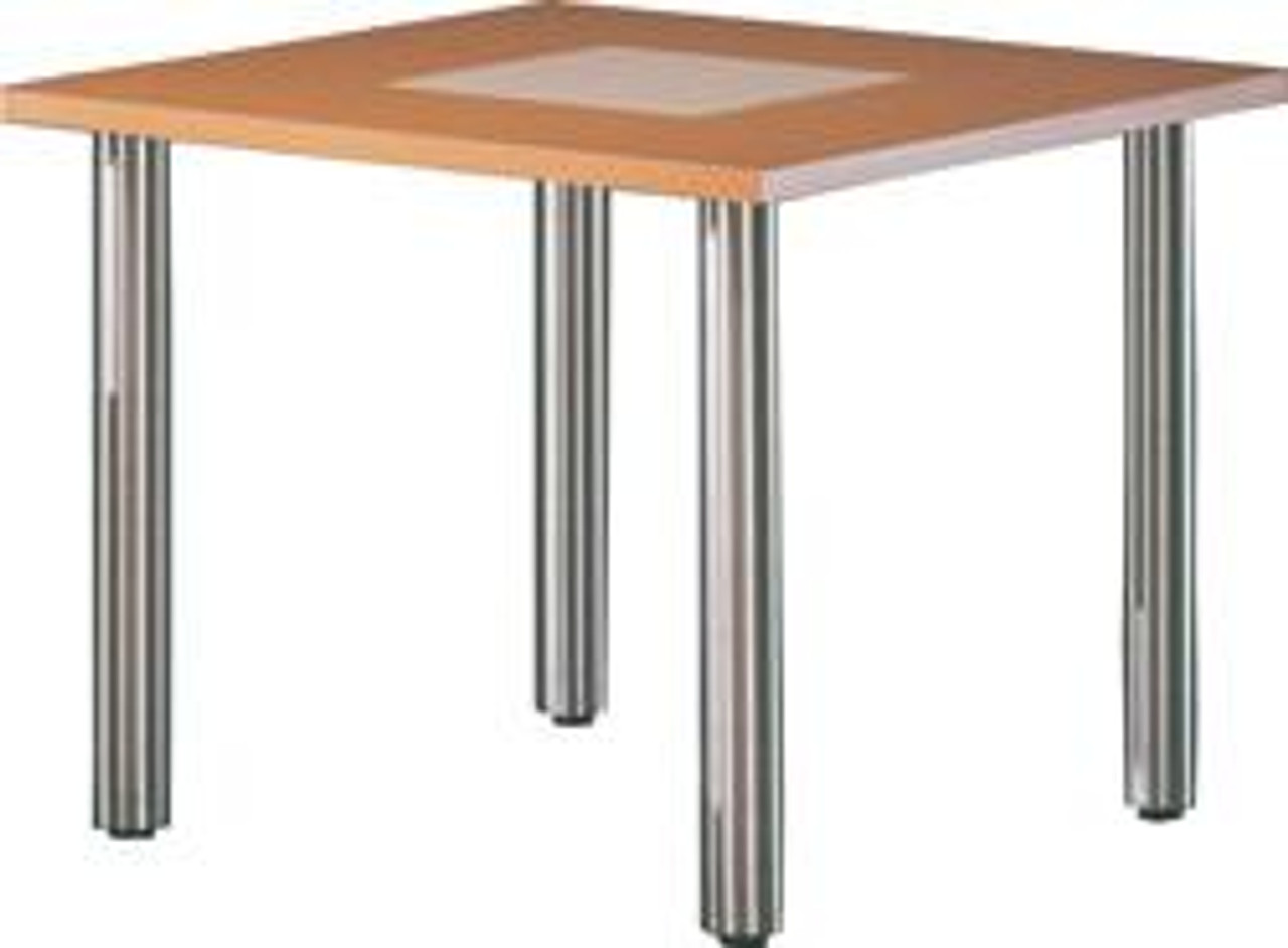 Dining Height Stainless Steel Straight Table shown attached to example table top.