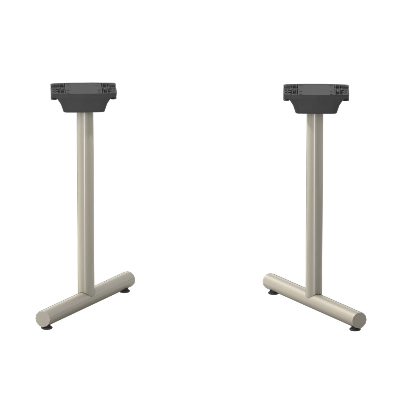 "SET OF 2, Tubular T-style Folding/Flip-Top Table Bases, 27-3/4"" Height, 18"" Base Spread, 2"" diameter Columns with adjustable Levelers. - Replacementtablelegs.com"