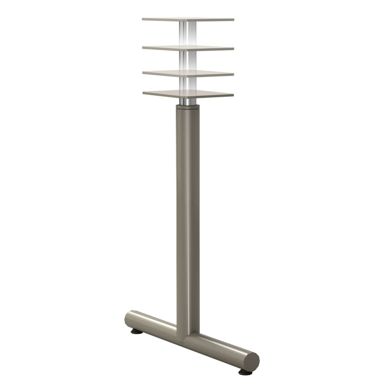 "Adjustable T-style Table Base, 27-3/4"" to 39-3/4"" Height Adjustment, Welded Construction, 2-3/8"" Diameter Column with Adjustable Levelers, single - Replacementtablelegs.com"