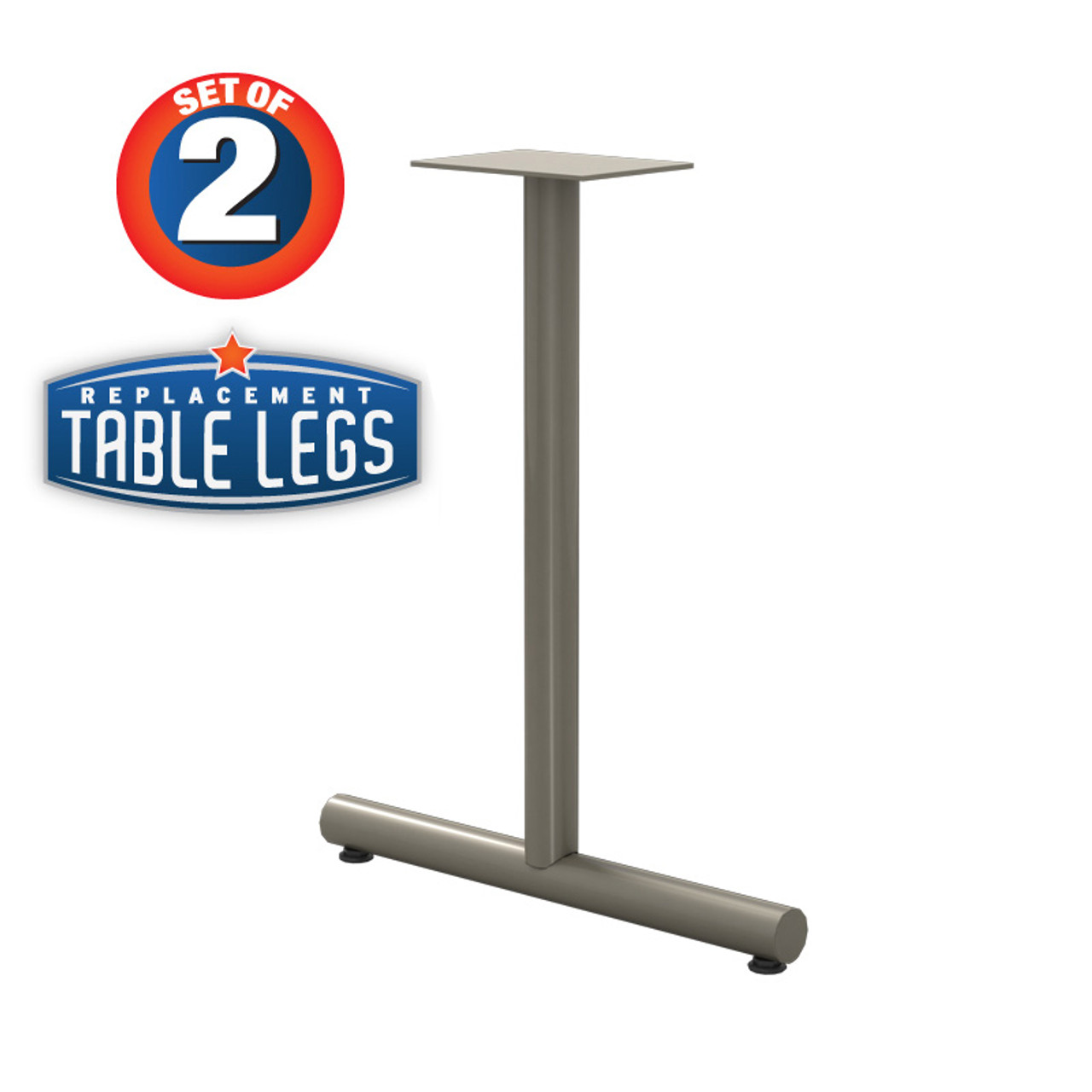 "Tubular T-style Table Base, 27-3/4"" Height, 22"" Base Spread, 2"" diameter Columns with adjustable Levelers. - Replacementtablelegs.com"