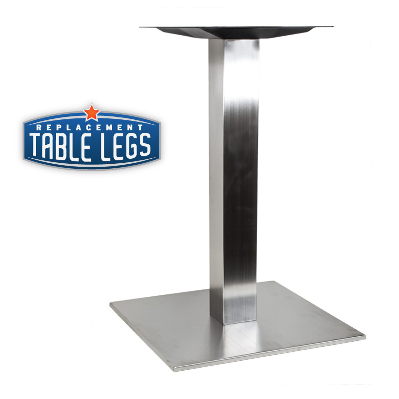 "Square Table Base, Brushed Stainless Steel, 28-5/8"" height, 17"", 22"", 30"" or 16"" x 28"" square base, 3""square steel column, SINGLE"