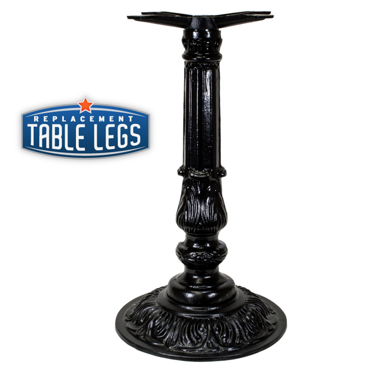 "CAST IRON ORNAMENTAL TABLE BASE, 16"" round base, Semi-Gloss Black, 28-1/2"" height, cast iron column with steel plate attachment - replacementtablelegs.com"