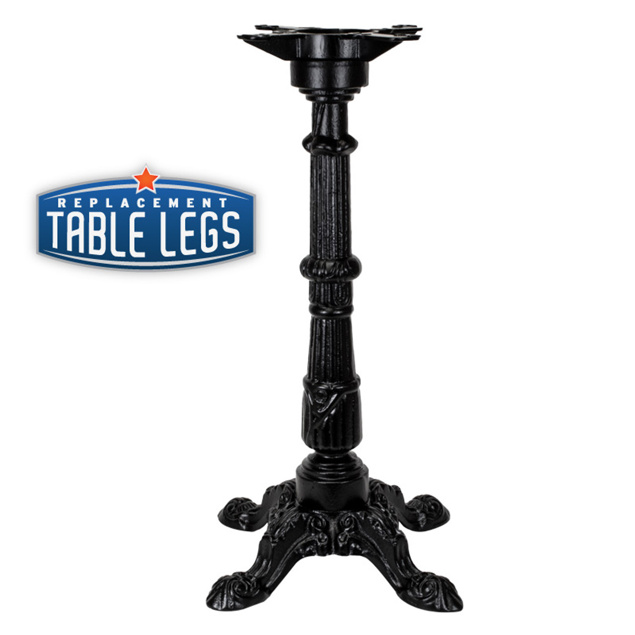 "CAST IRON ORNAMENTAL TABLE BASE, 17""x17"" base, Semi-Gloss Black, 28-1/2"" height, cast iron column with steel plate attachment - replacementtablelegs.com"