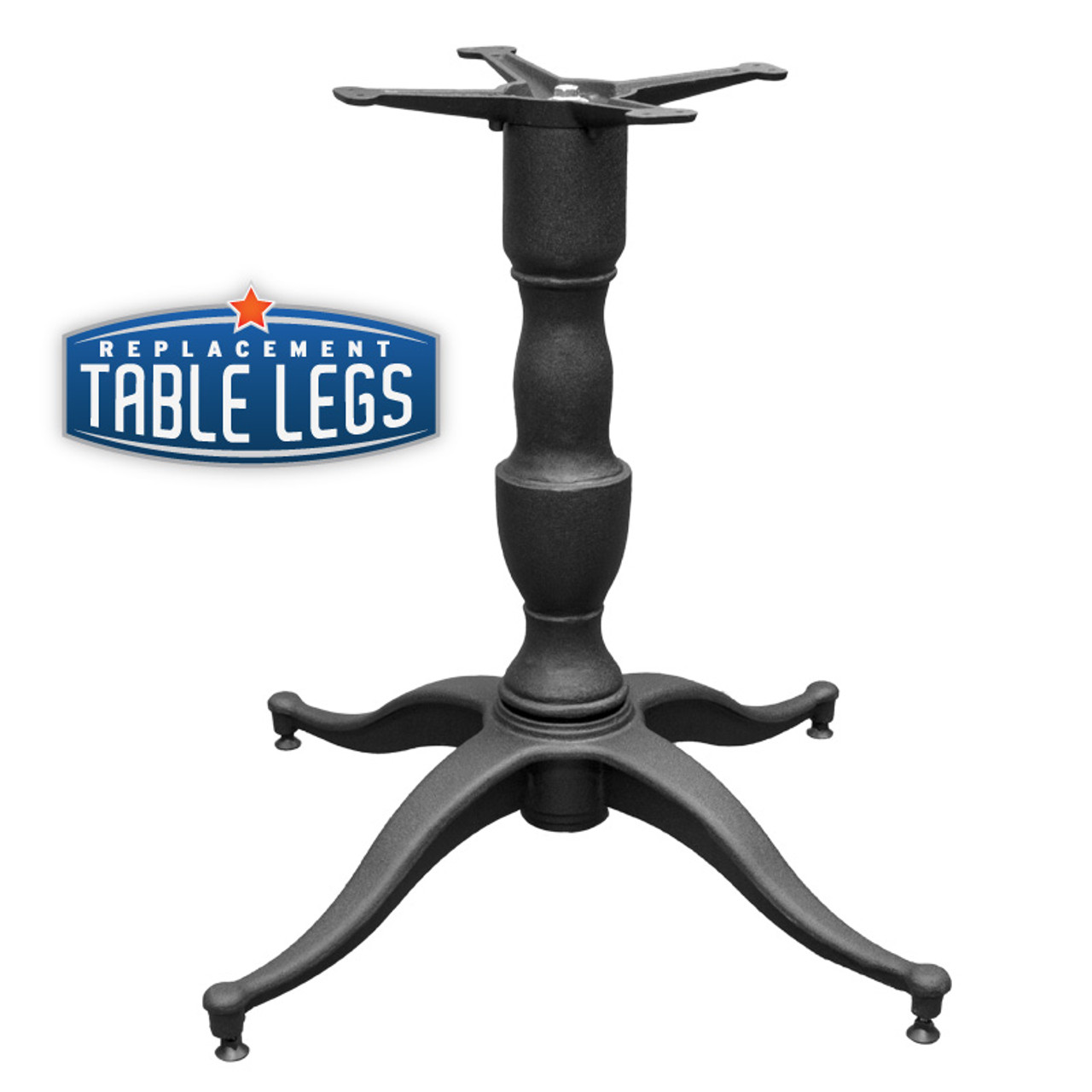 "Table Base 32""x32"" Decorative 4-Leg, 28"" height, Matte Black finish, 4"" Cast Iron Column. Base and Spider Attachment - replacementtablelegs.com"