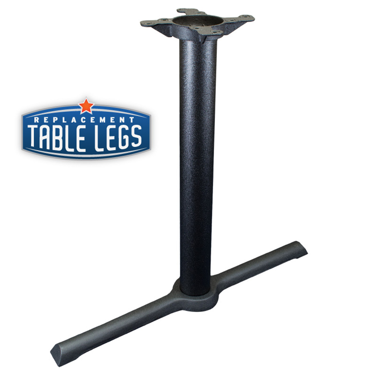 "CAST IRON TABLE BASE, X Style 5""x30"" End, 28"" height, 3"" diameter steel column - replacementtablelegs.com"