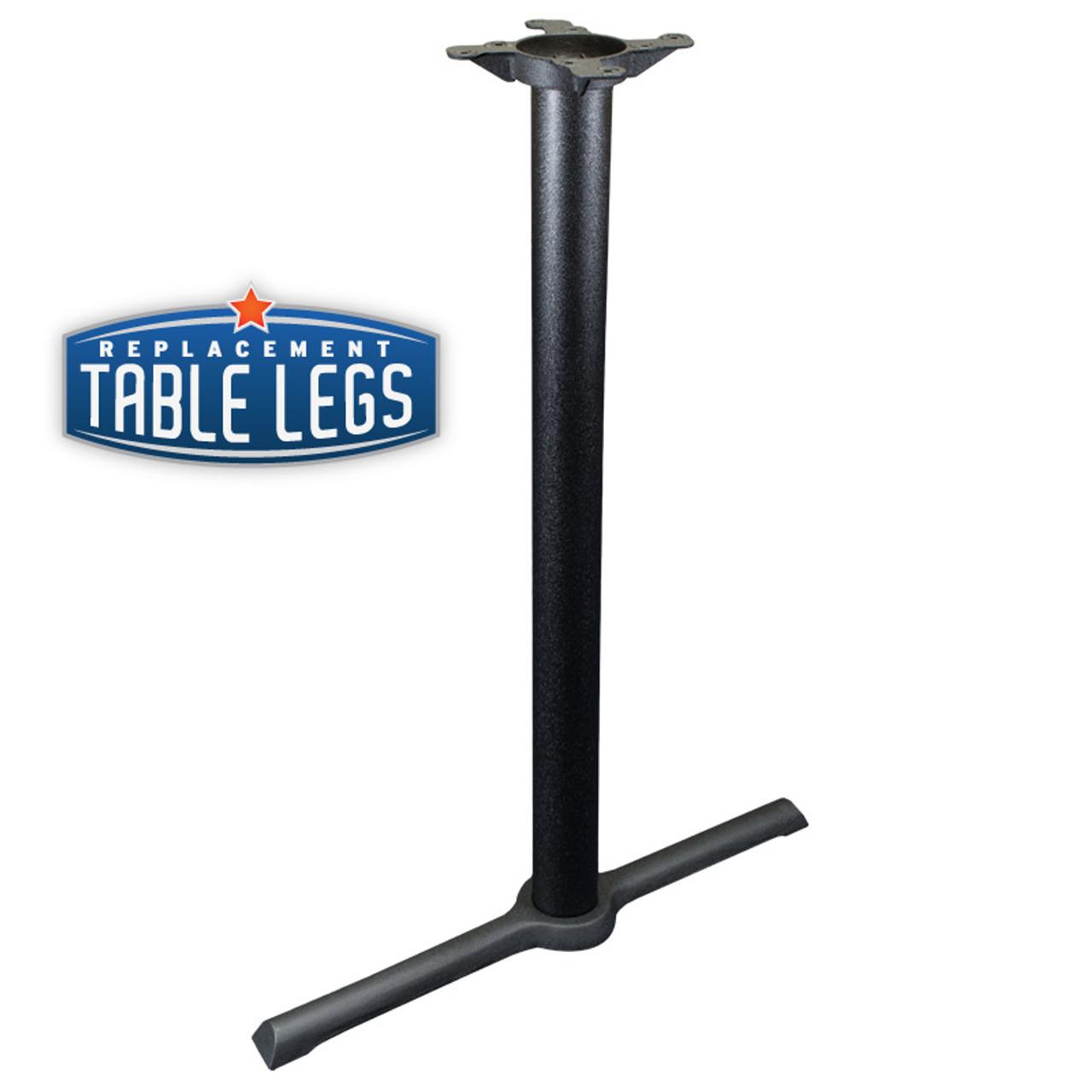 "CAST IRON TABLE BASE, X Style 5""x30"" End, 40"" height, 3"" diameter steel column - replacementtablelegs.com"