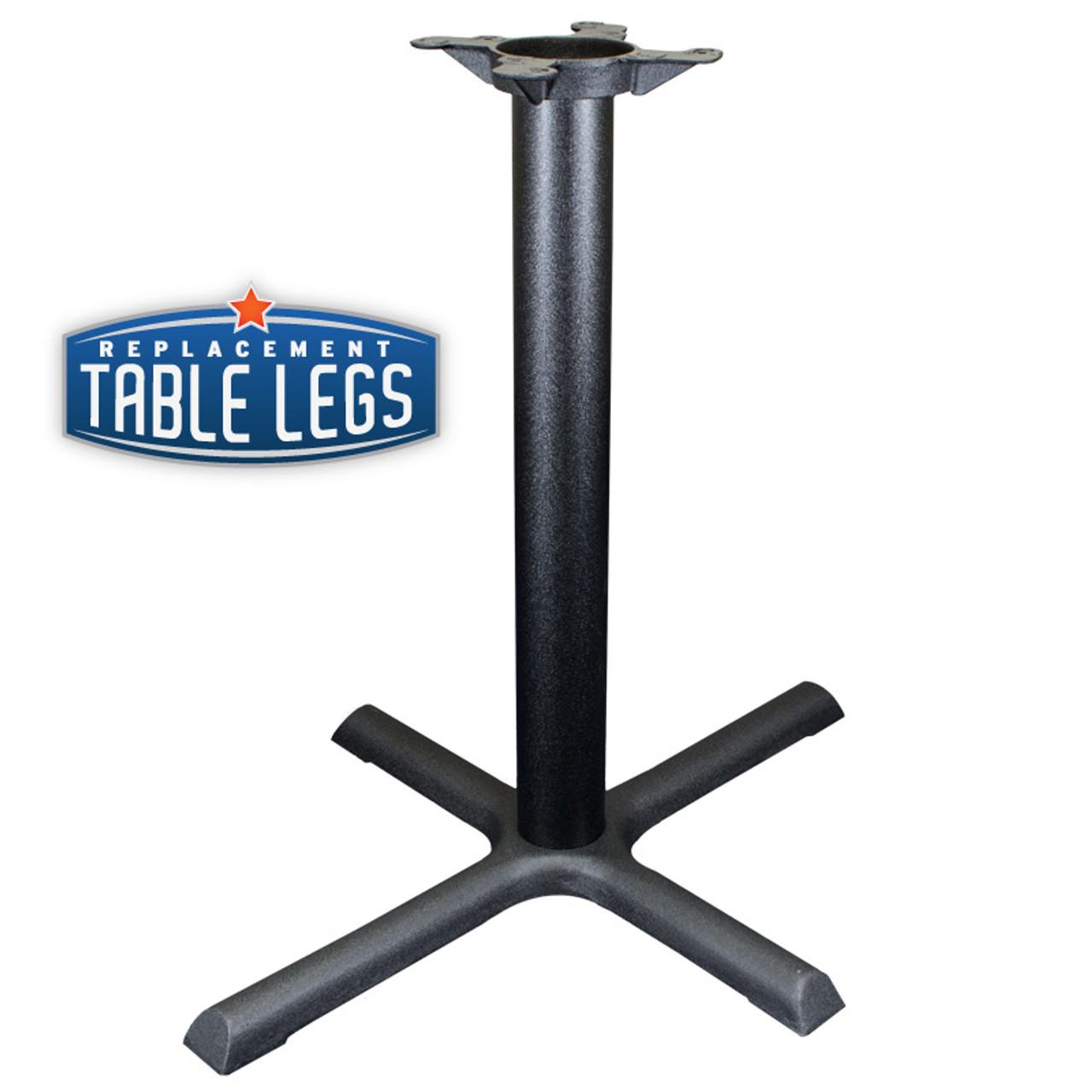 "CAST IRON TABLE BASE, X Style 24""x30"", 28"" height, 3"" diameter steel column - replacementtablelegs.com"