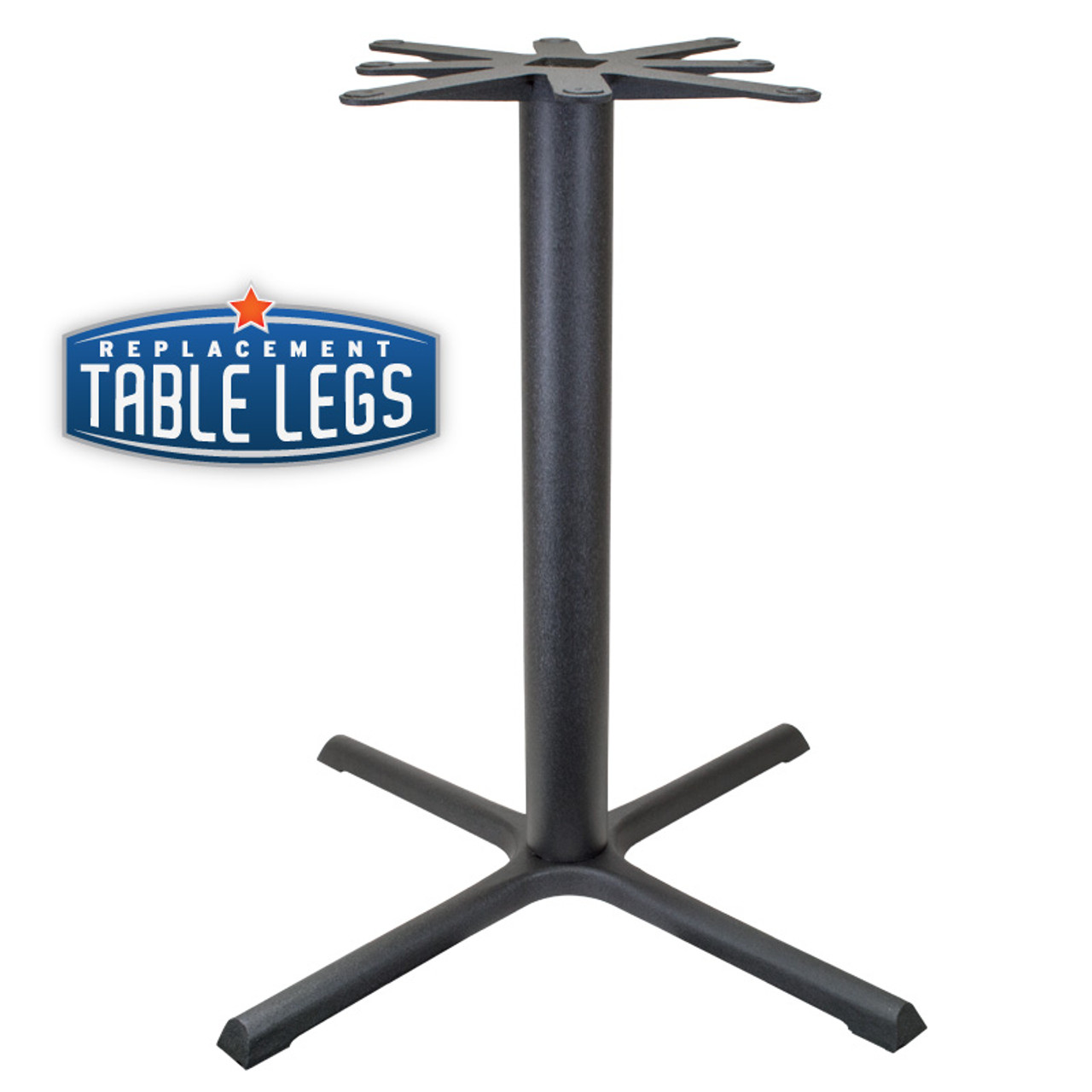 "CAST IRON TABLE BASE, X Style 40""x40"", 40-1/4"" height, 4"" diameter steel column - replacementtablelegs.com"