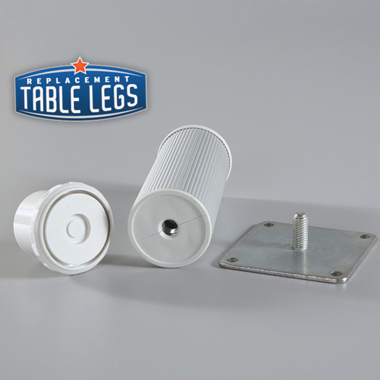 Alumina Como Leg, 6'' Cabinet Leg,  2'' diameter with adjustable foot removed - replacementtablelegs.com