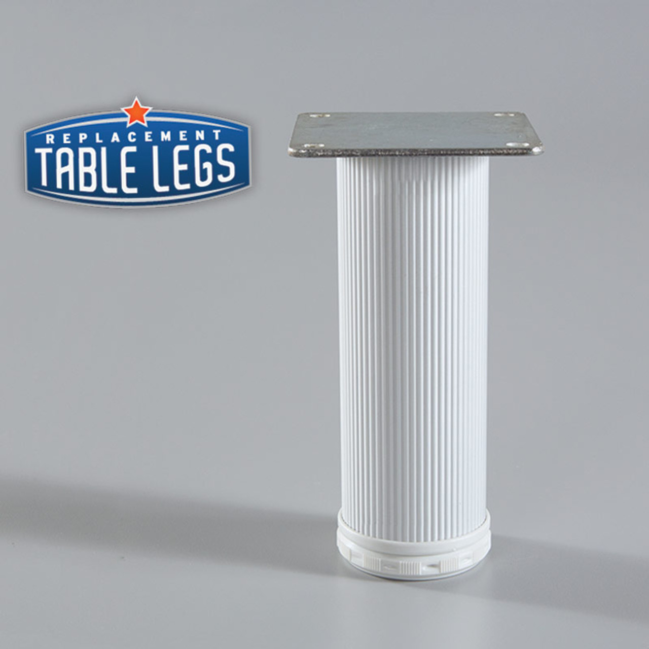 Alumina Como Leg, 8'' Cabinet Leg,  2'' diameter, 1-1/8'' adjustable foot - replacementtablelegs.com