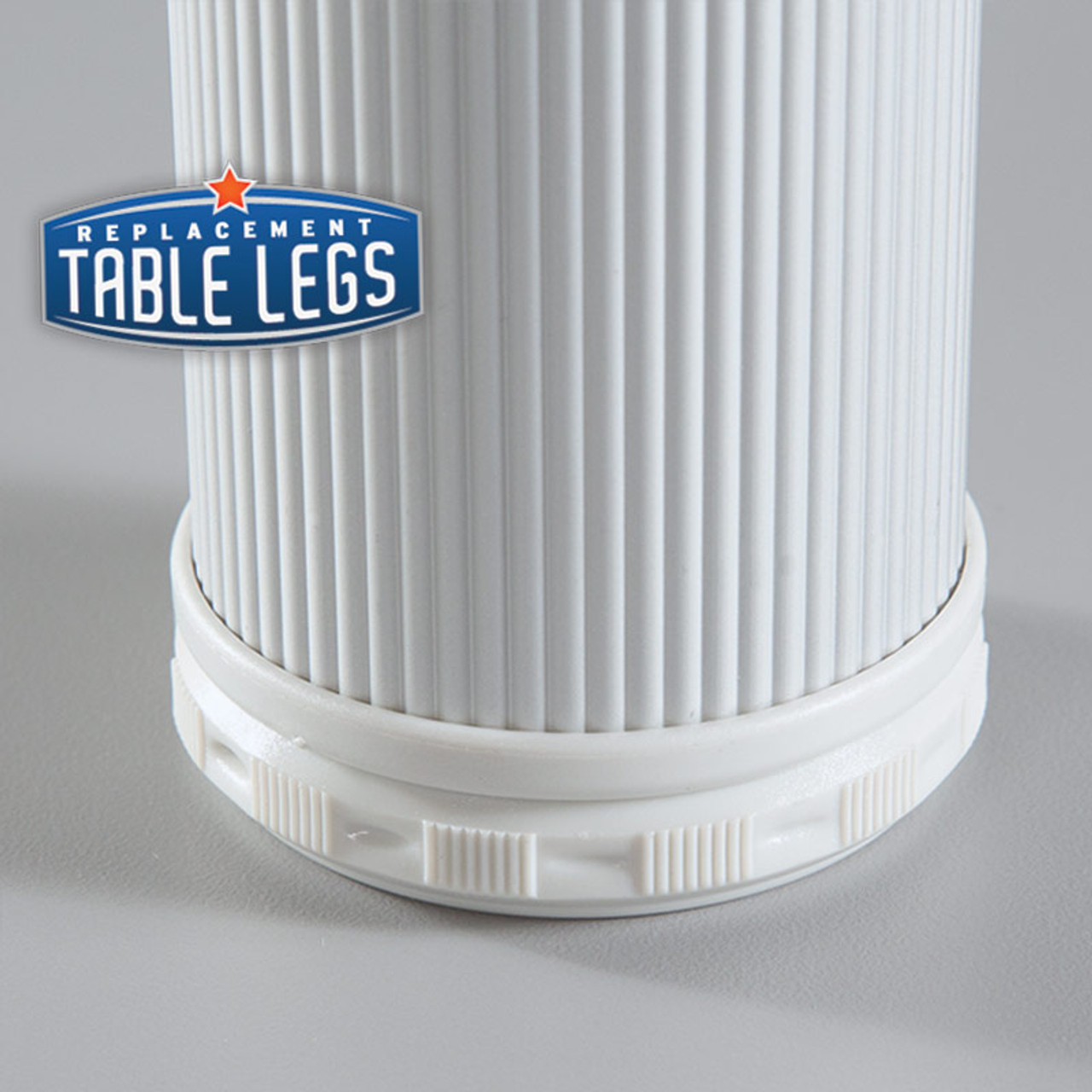 Alumina Como Leg, 8'' Cabinet Leg,  2'' diameter, 1-1/8'' adjustable foot close up - replacementtablelegs.com