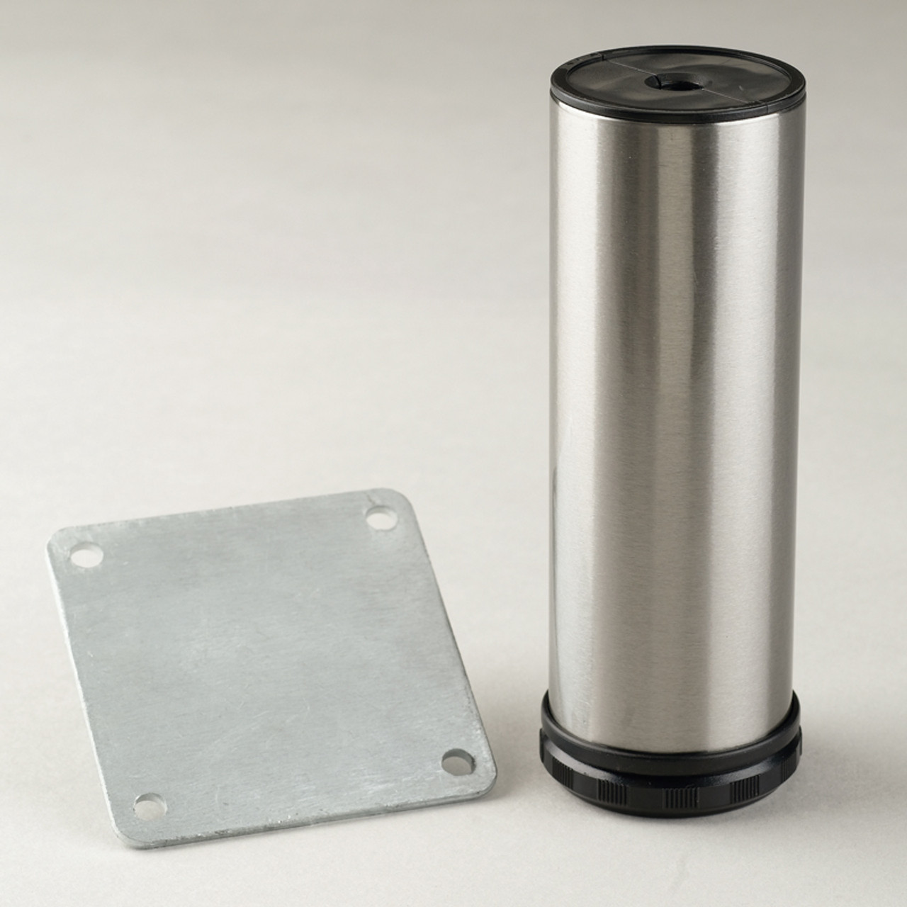 Brushed Steel Como Leg, Cabinet Leg with mounting bracket - replacementtablelegs.com