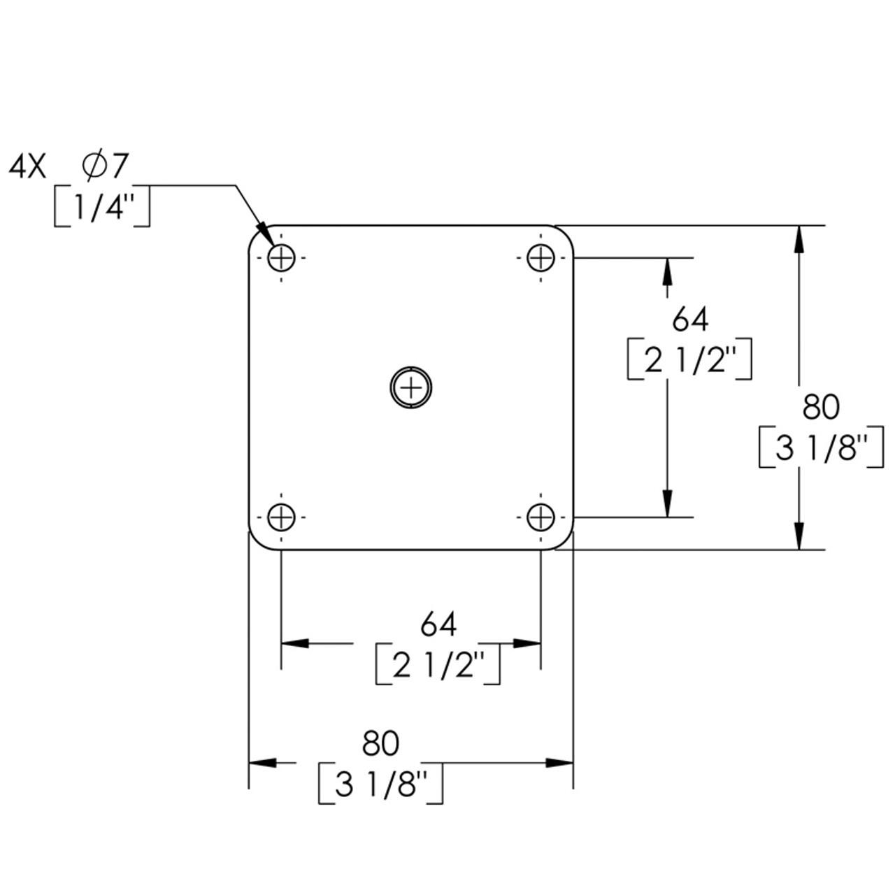 Diagram - Como Leg Mounting Bracket dimensions