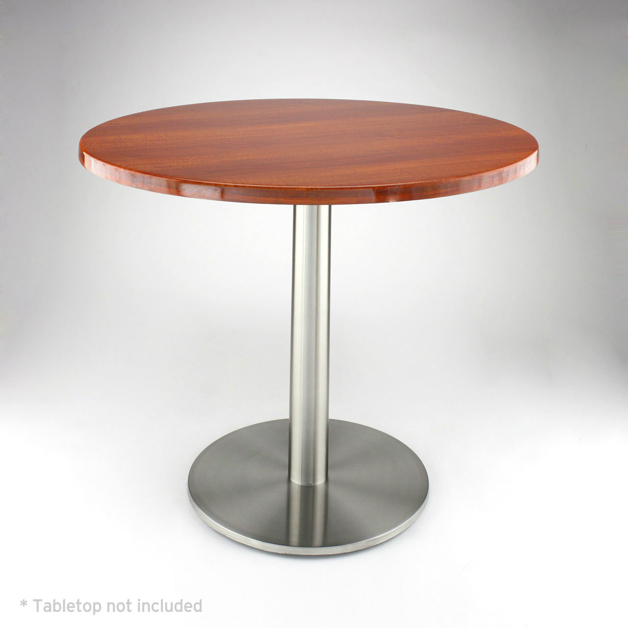 "Stainless steel 18"" round disk style pedestal table base, 28.2"" Dining Height Column shown with medium dark wood table top"