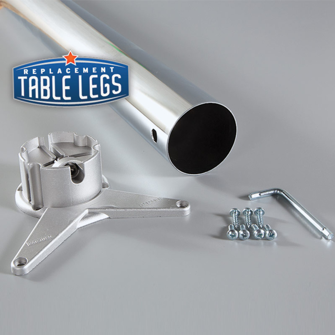 Table leg, mounting bracket, screws, and adapter - replacementtablelegs.com