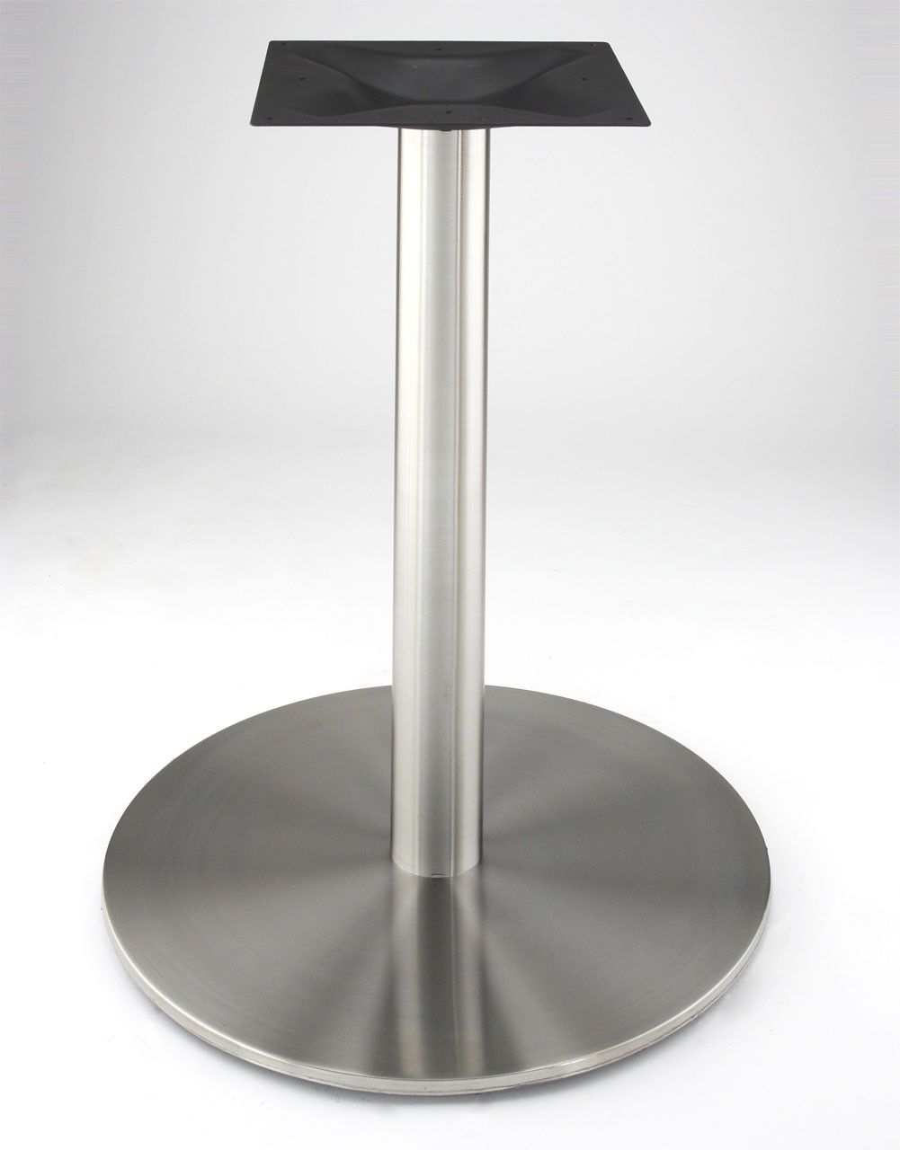 """RFL540D Dining Height Stainless Steel 21"""" Round Disk Style Pedestal Table Base, 28.2"""" height available at www.replacementtablelegs.com"""