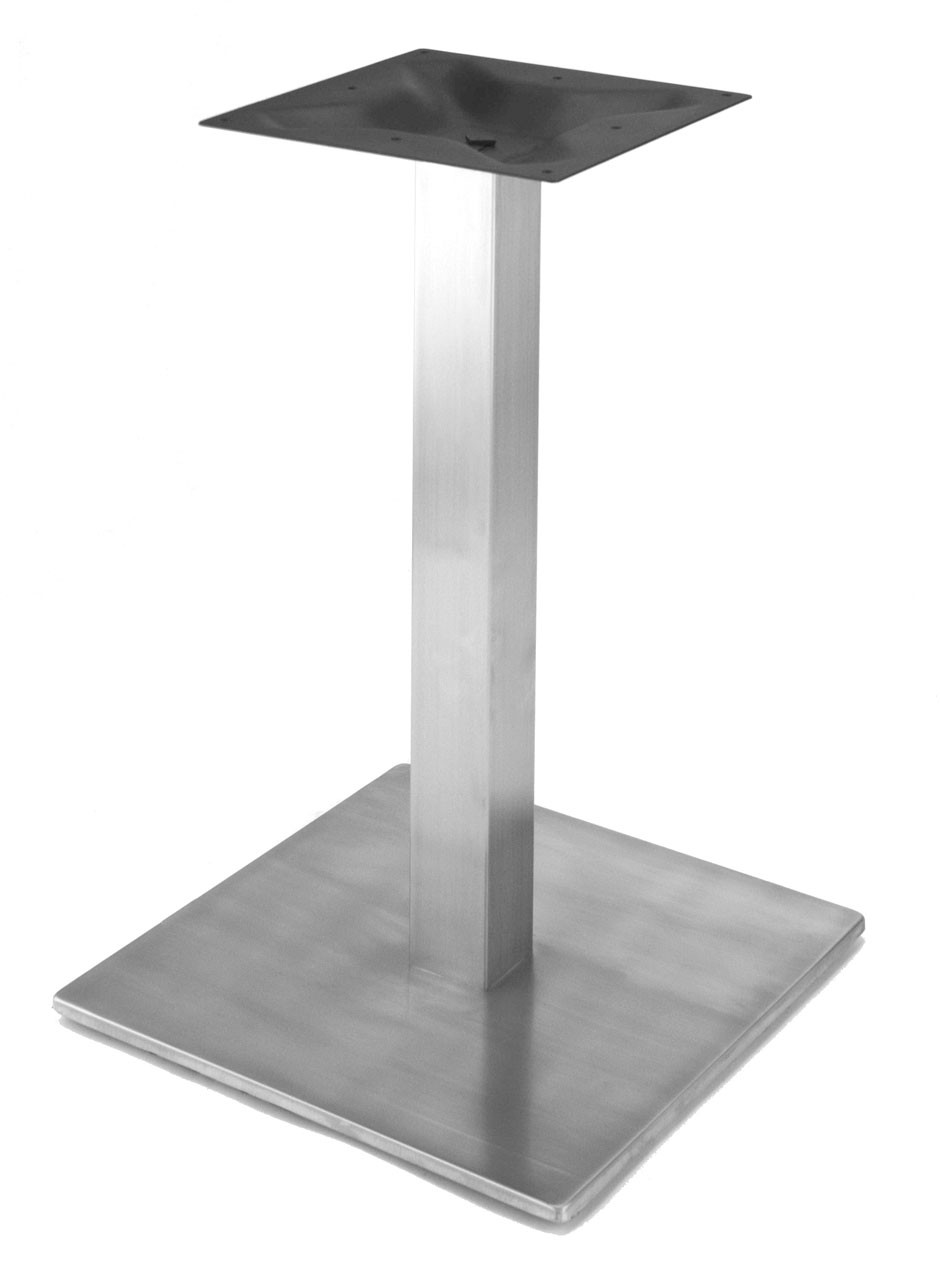 """RSQ450D - Stainless steel 18"""" square style pedestal table base, square column, 28.2"""" Table or Dining Height shown without table top."""