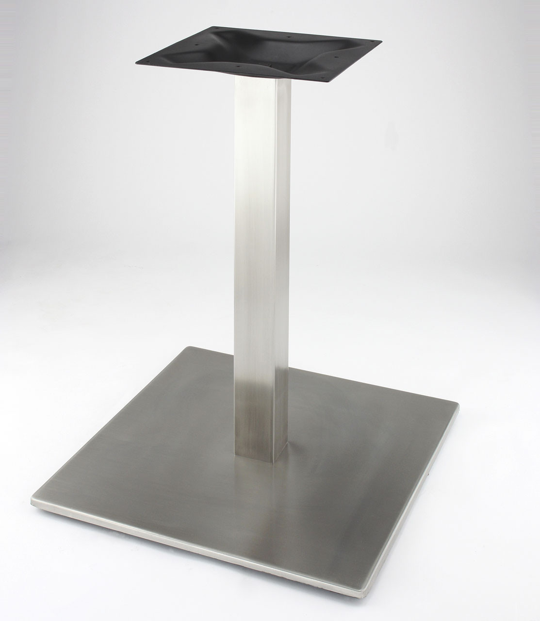 "RSQ540 - Stainless steel, 28.2"" height,  21"" Square base with square 2.75"" square column base shown without table top."