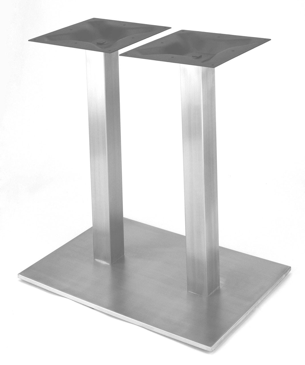 "304 Food Grade Stainless Steel, 34.75"" Counter Height, 18 x 27.5"" Rectangle Style Pedestal Base with 2 x Square Columns shown without table top. Suitable for outdoor use with protective spray."
