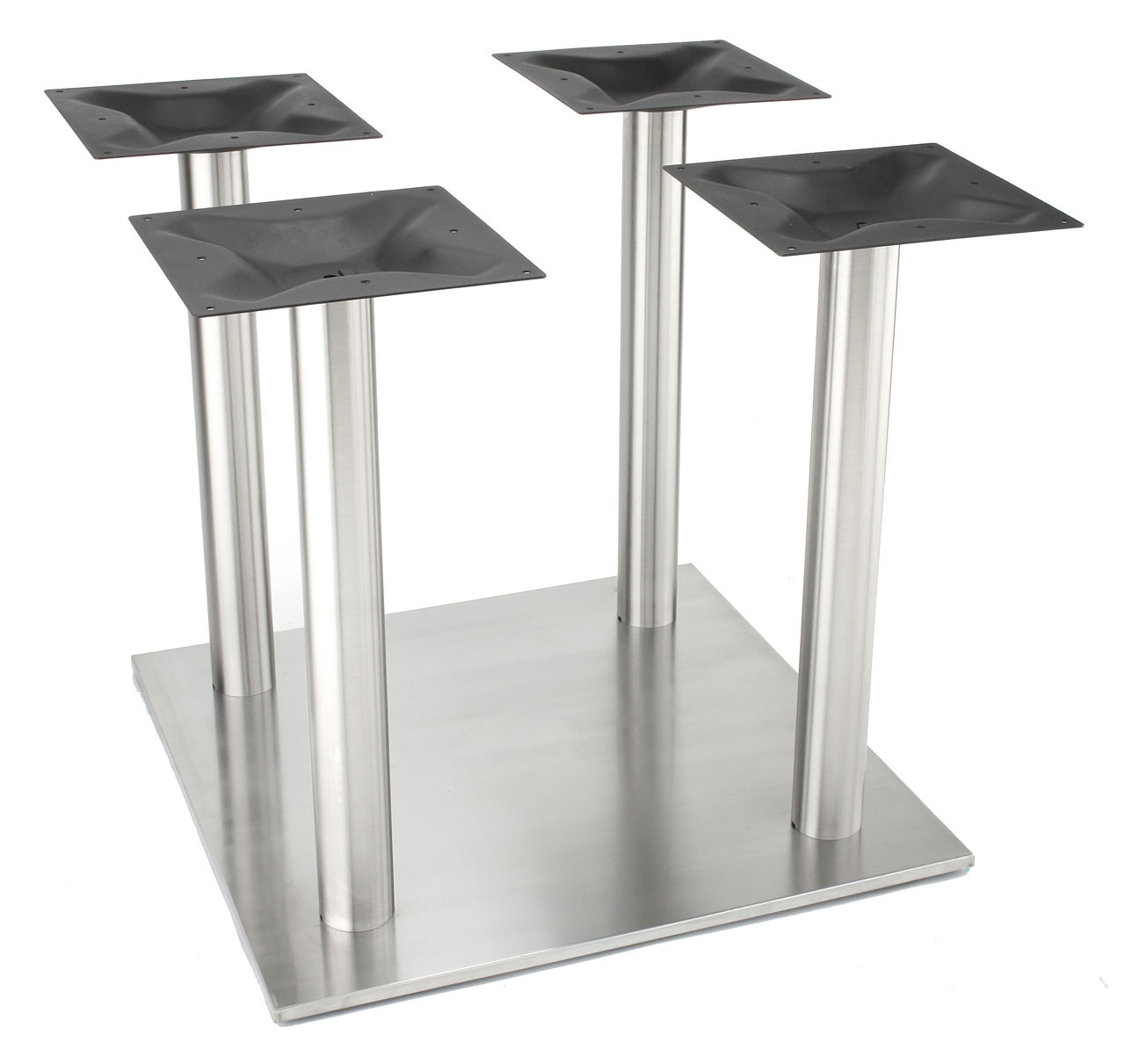 "Nikai Stainless steel 30"" square style pedestal table base, 4 x 3.0"" square columns, Dining Height"