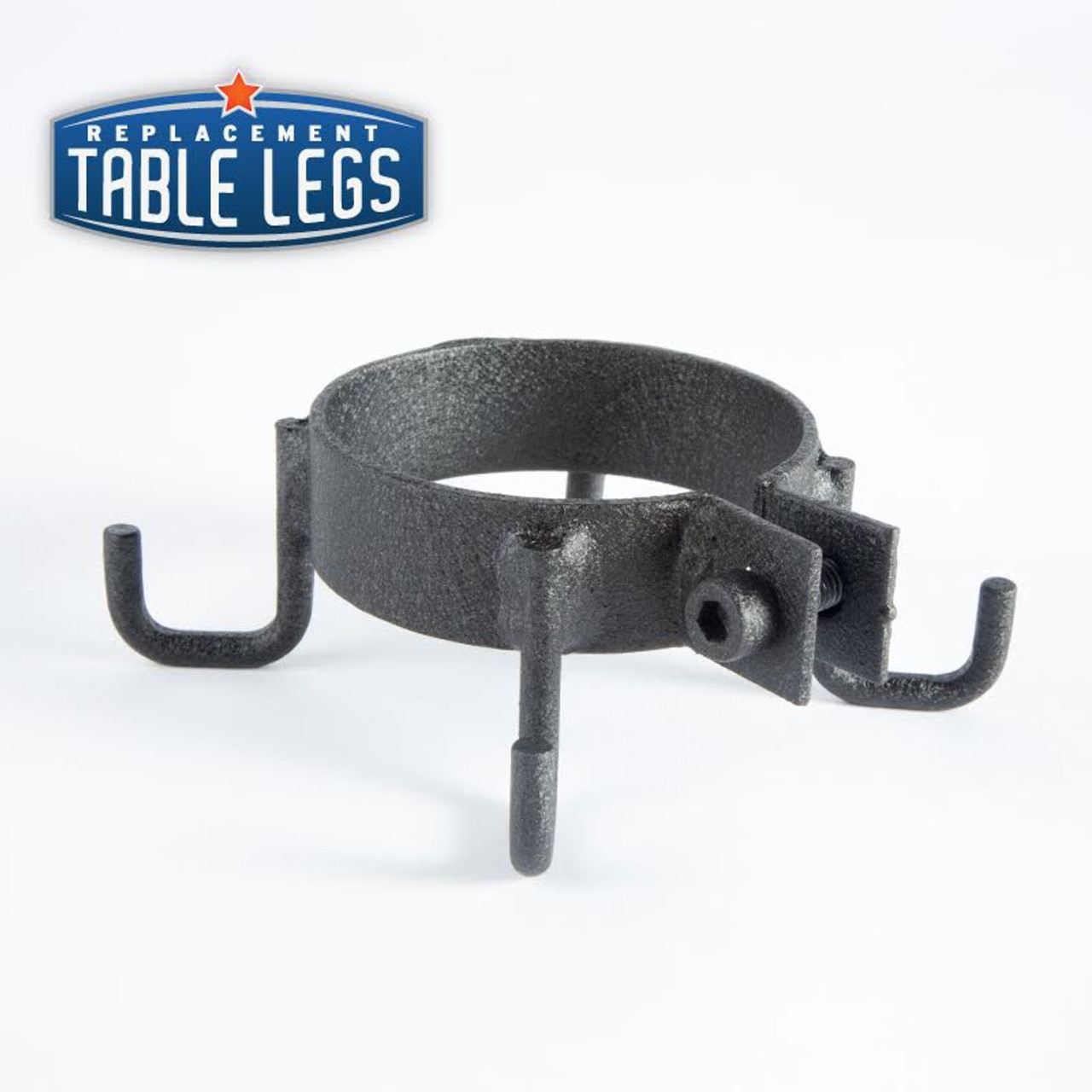 Rotated 3/4 view cast iron purse hook collar