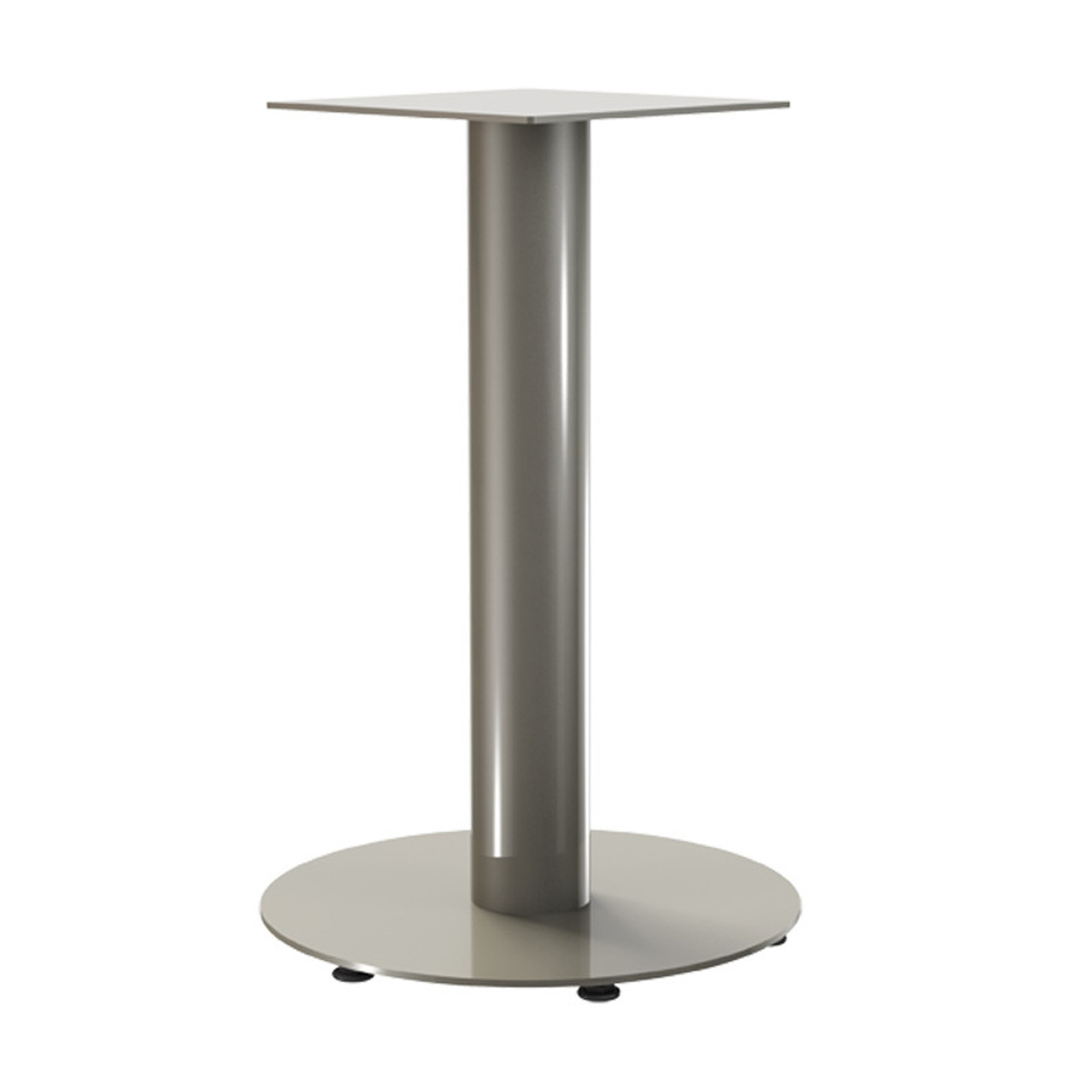 "Bar height, 18"" diameter pedestal base version shown here with additional 1"" levelers."