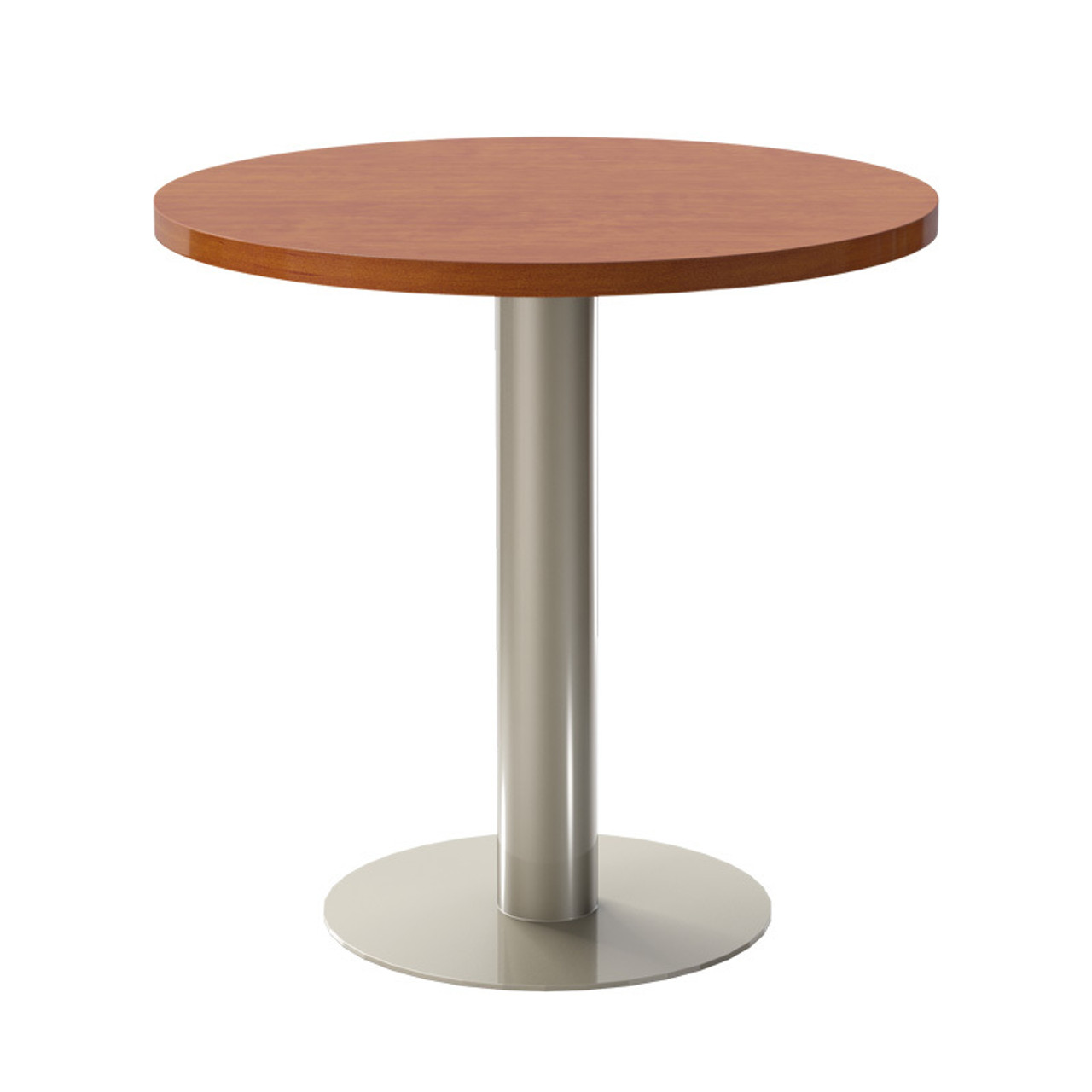 "Bar height, 18"" diameter pedestal base version shown here with additional wooden top."