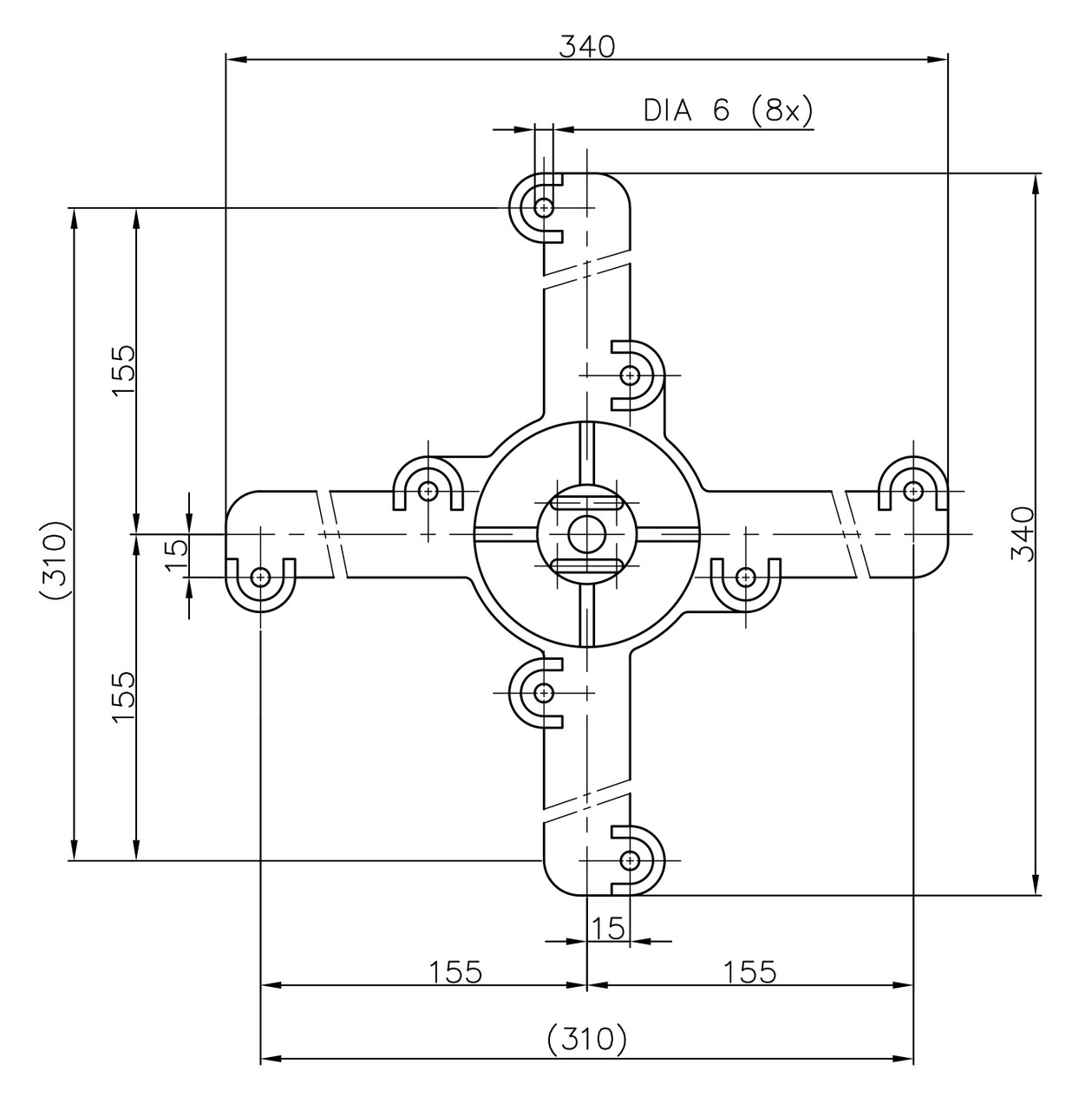 Specifications for Table Base Spider Connector 14 Inch Cast Iron