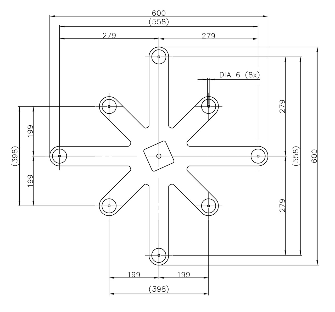 Specifications for Table Base Spider Connector 24 Inch Cast Iron