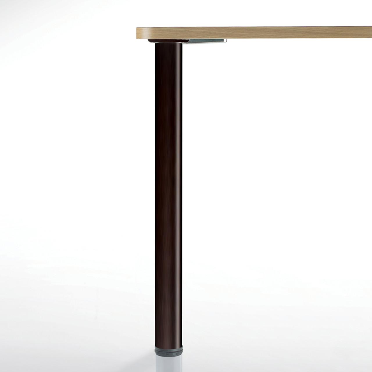Hamburg Table Leg, Matte Black, 34-1/4'', 2-3/8'' diameter leg 1-1/8'' adjustable foot - replacementtablelegs.com