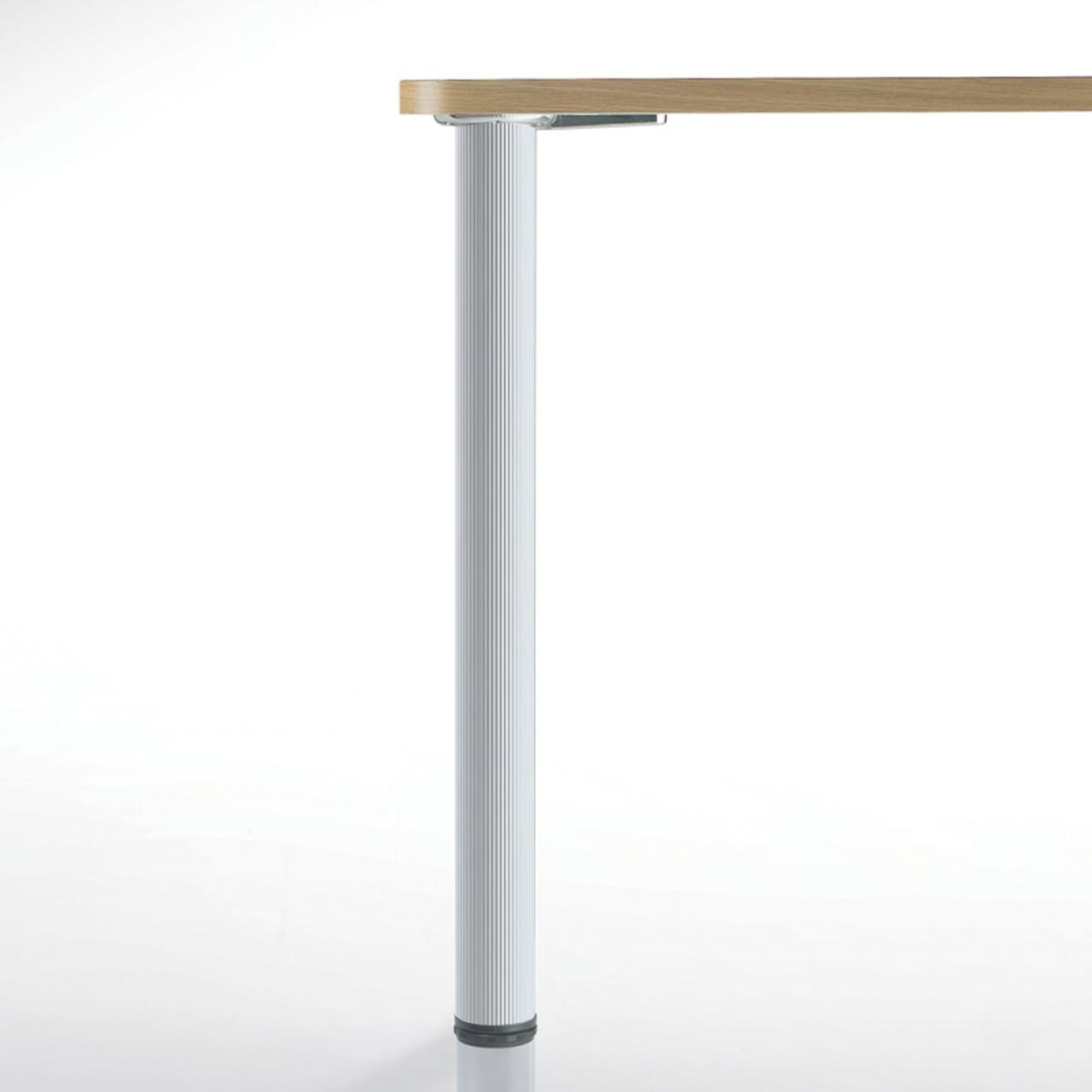 Hamburg Table Leg, Alumina, 34-1/4'', 2-3/8'' diameter leg 1-1/8'' adjustable foot - replacementtablelegs.com