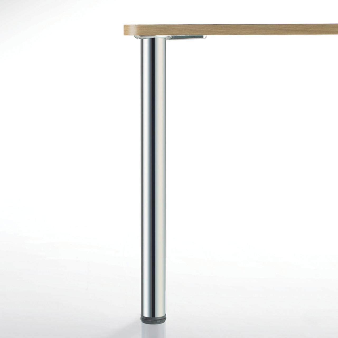 Hamburg Table Leg, Chrome, 34-1/4'', 2-3/8'' diameter leg 1-1/8'' adjustable foot - replacementtablelegs.com