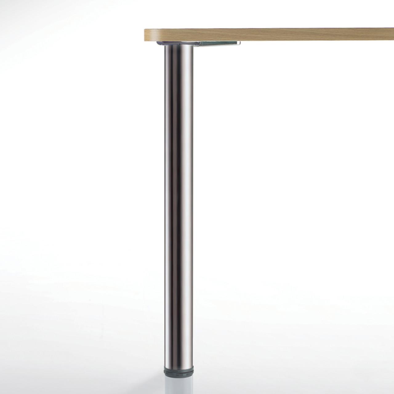 Hamburg Table Leg, Brushed Steel, 34-1/4'', 2-3/8'' diameter leg 1-1/8'' adjustable foot - replacementtablelegs.com