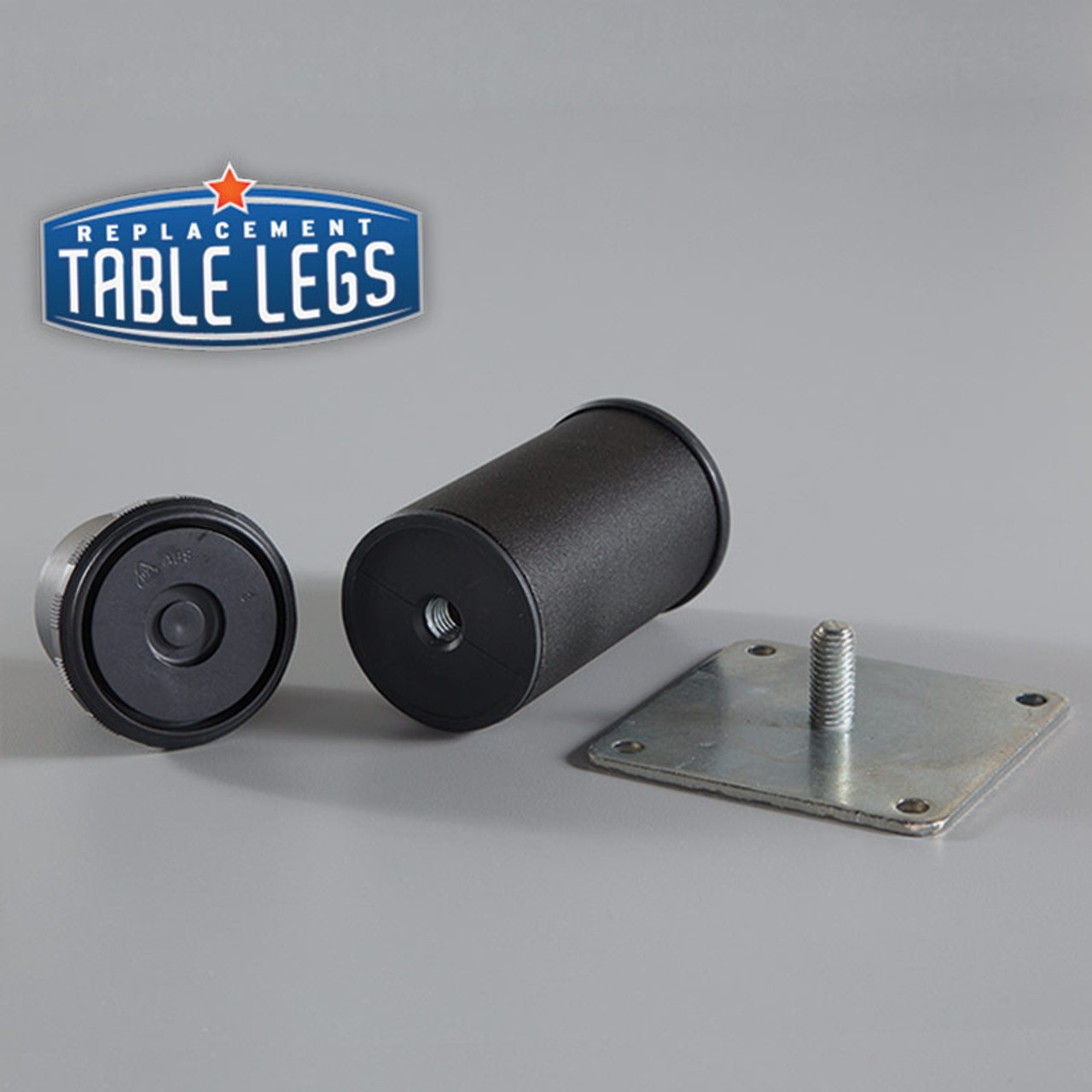 Black Matte Como Leg 4'' Cabinet Leg,  2'' diameter, 1-1/8'' adjustable foot - Replacementtablelegs.com