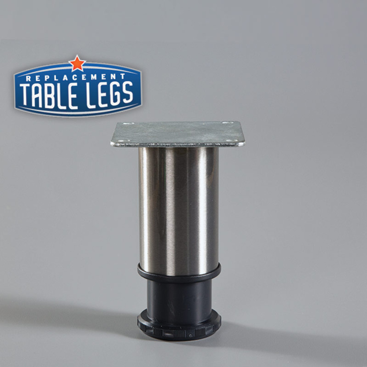 Chrome Como Leg 4'' Cabinet Leg,  2'' diameter, 1-1/8'' adjustable foot - Replacementtablelegs.com