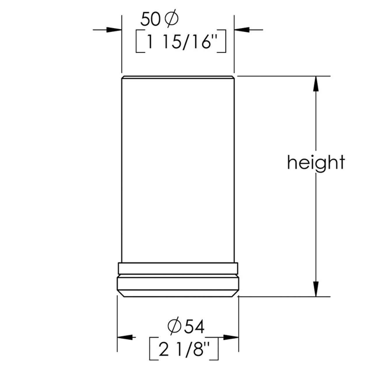 Diagram - Como Leg 4'' Cabinet Leg,  2'' diameter, 1-1/8'' adjustable foot - Replacementtablelegs.com