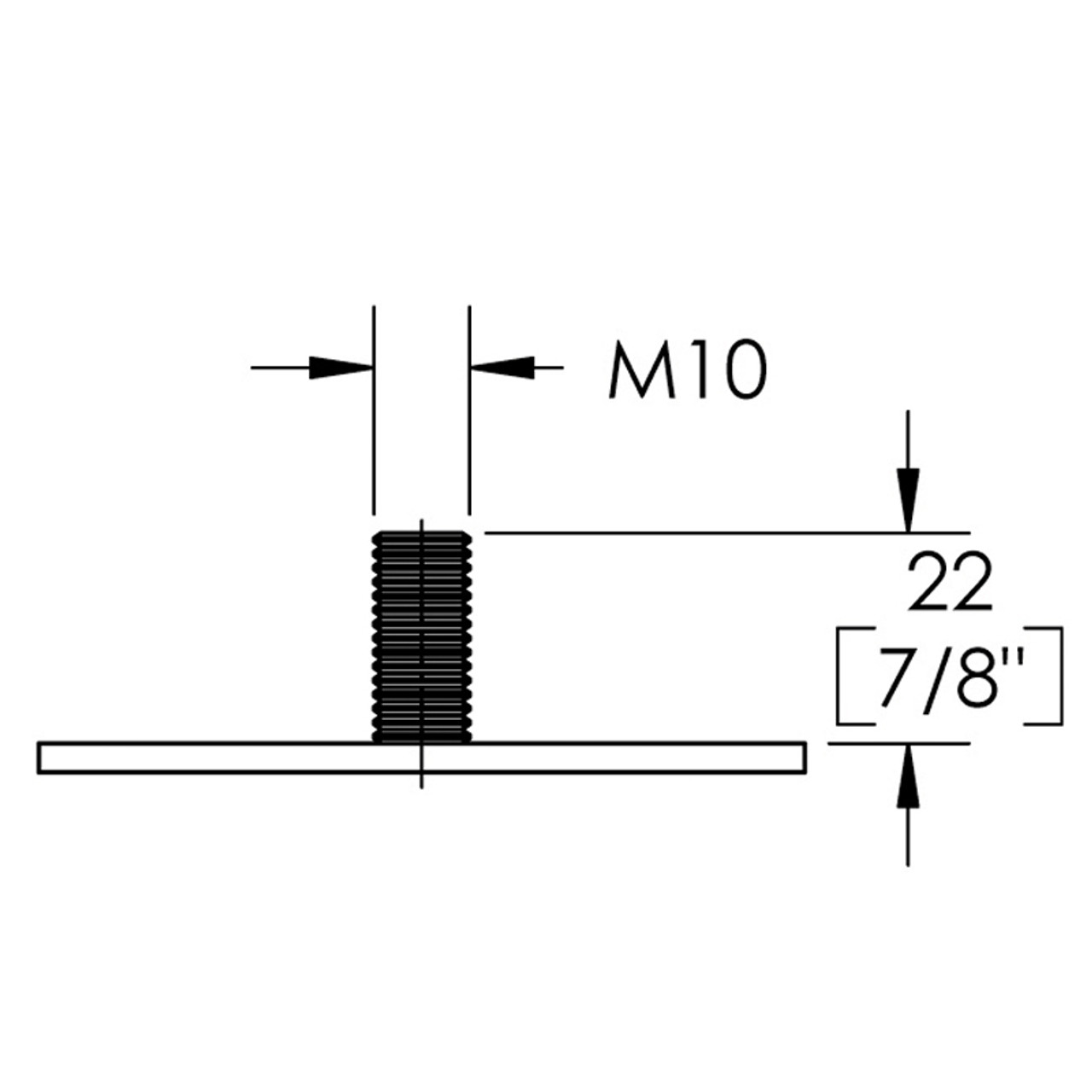 Diagram - Como Leg mounting bracket with M10 thread