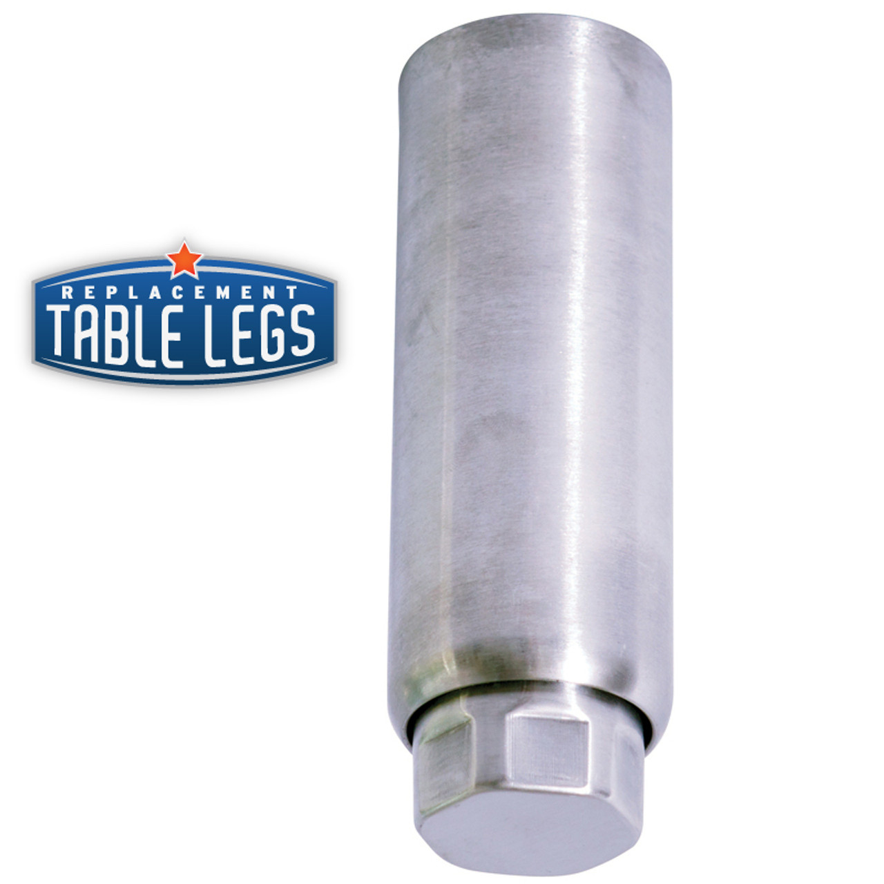 Heavy Duty Equipment Leg, Food Grade Stainless Steel, 6'' Equipment Leg,  2'' diameter, 1-7/16'' adjustable foot - replacementtablelegs.com