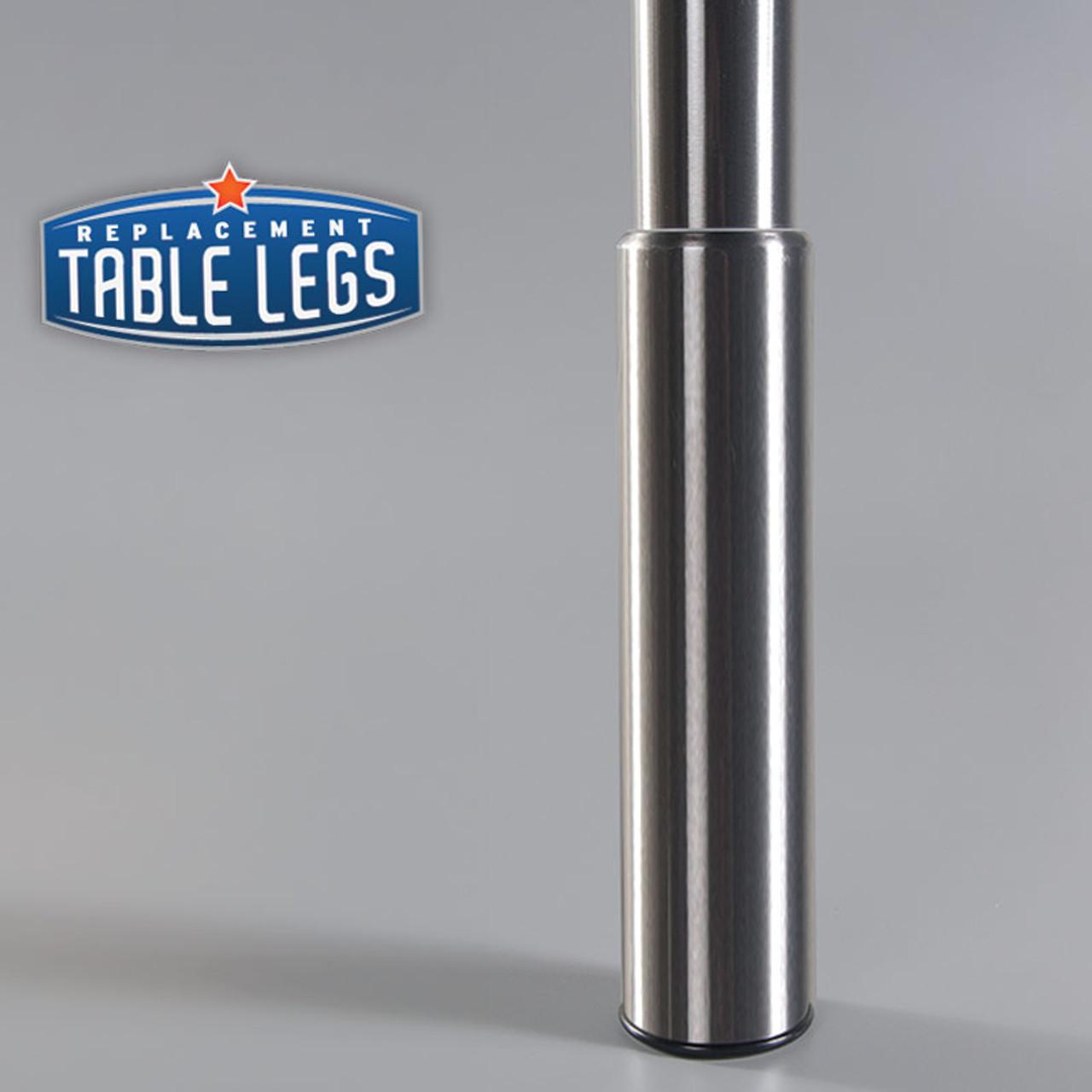 Brushed Steel Studio Telescoping Table Leg 7'' adjustable foot metal cover - replacementtablelegs.com