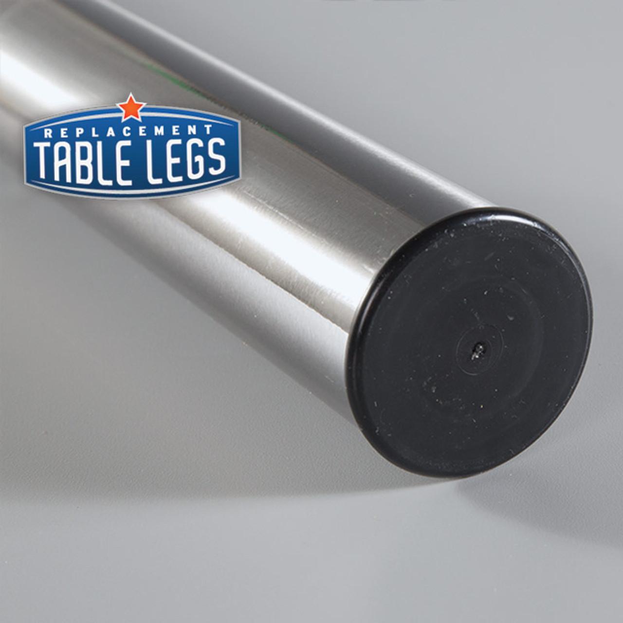 Brushed Steel Studio Telescoping Table Leg foot detail  - replacementtablelegs.com