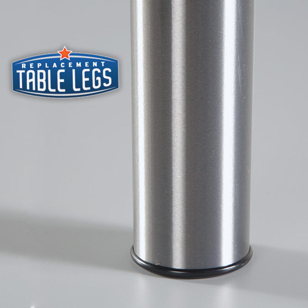 Brushed Steel Studio Telescoping Table Leg foot cover detail  - replacementtablelegs.com