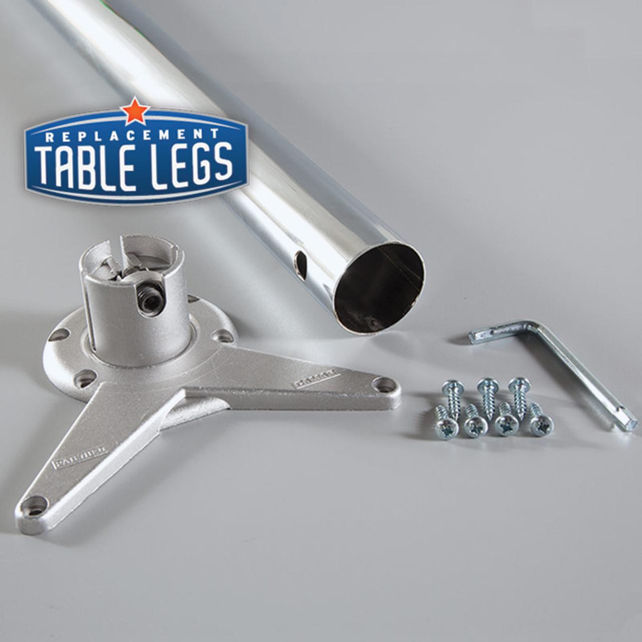 Brushed Steel Studio Telescoping Table Leg parts - replacementtablelegs.com