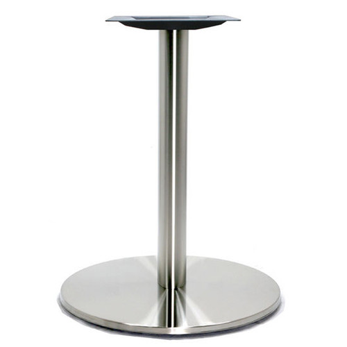 "Round Table Base, Brushed Stainless Steel, 28-3/8"" height, 18"" round base, 3""diameter steel column - replacementtablelegs.com"
