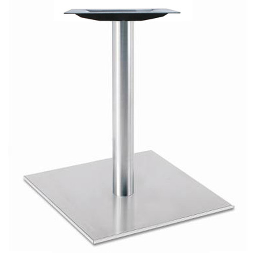 "Square, Brushed Stainless Steel Table Base, 28-3/8"" height, 17"" round base, 3""diameter steel column - replacementtablelegs.com"