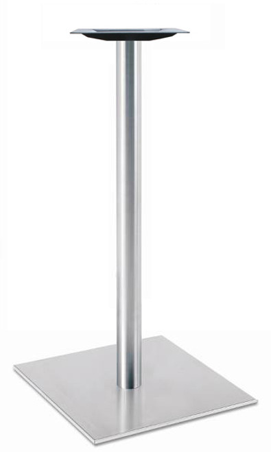 "Square, Brushed Stainless Steel Table Base, 42-1/2"" height, 17"" square base, 3""diameter steel column - replacementtablelegs.com"